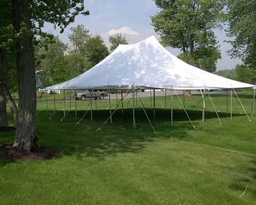30' white pole tent