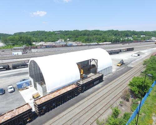 Industrial Fabric tent in railyard