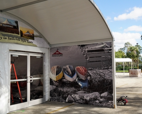 Halfmoon Marquee entrance tent with graphics