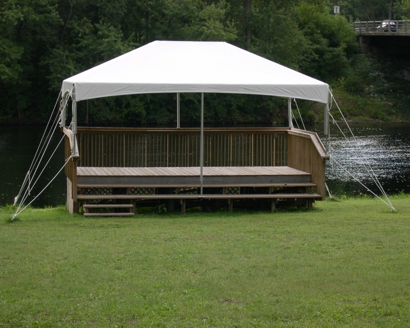 Cinch Top Frame Tent  overlooking pond