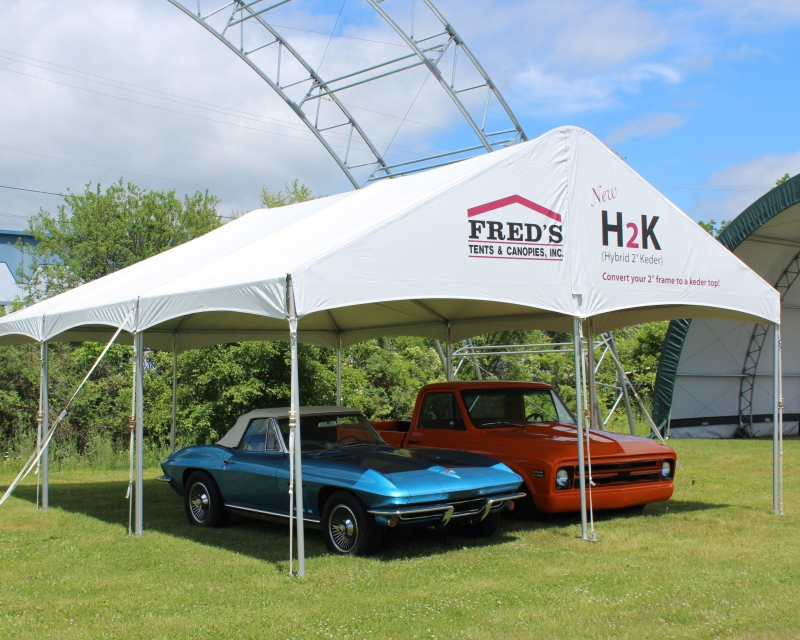 H2K Frame Tent  with classic cars