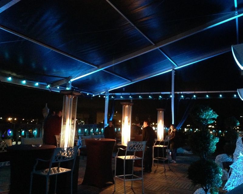 Frame tent at night