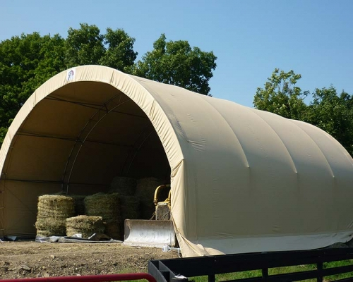 Fabric structure with hay inside