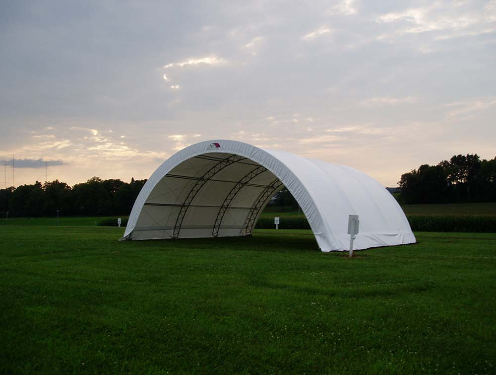 Fabric Farm structure in field