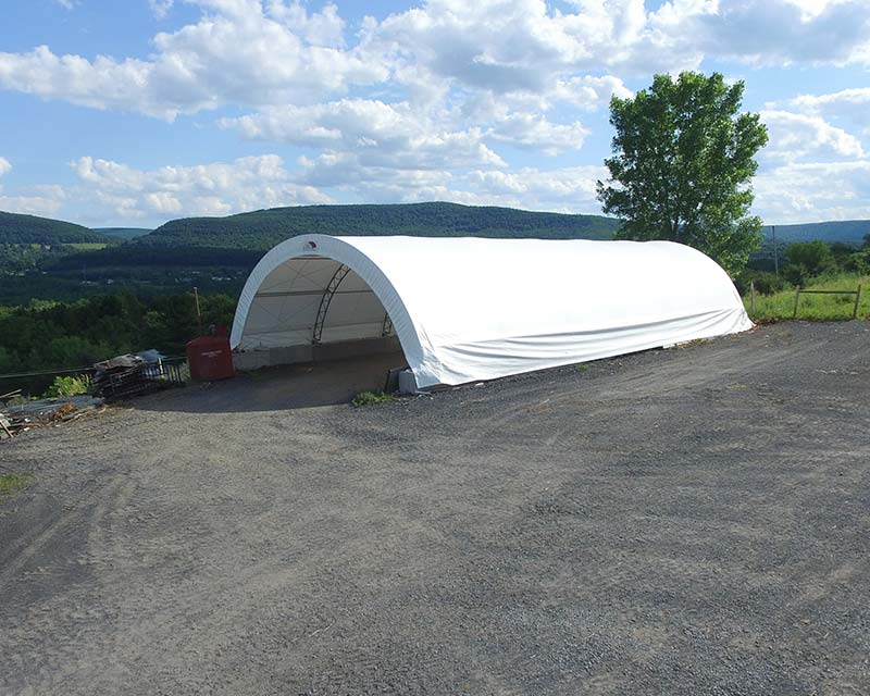 Fabric Farm structure for construction equipment