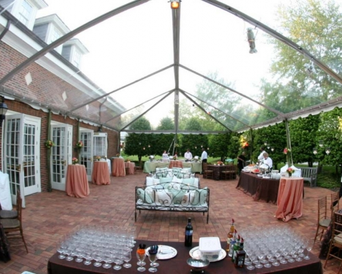 clear party tent setup for event