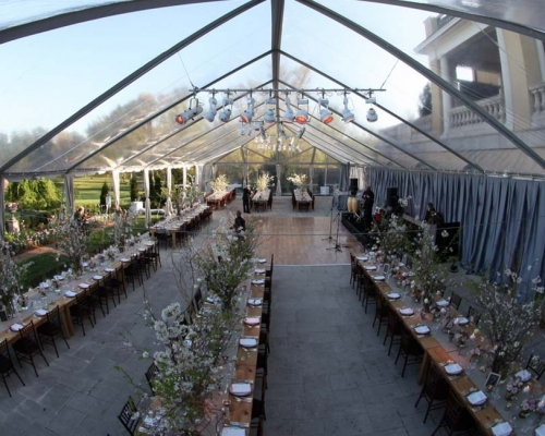 clear party tent setup for wedding recption