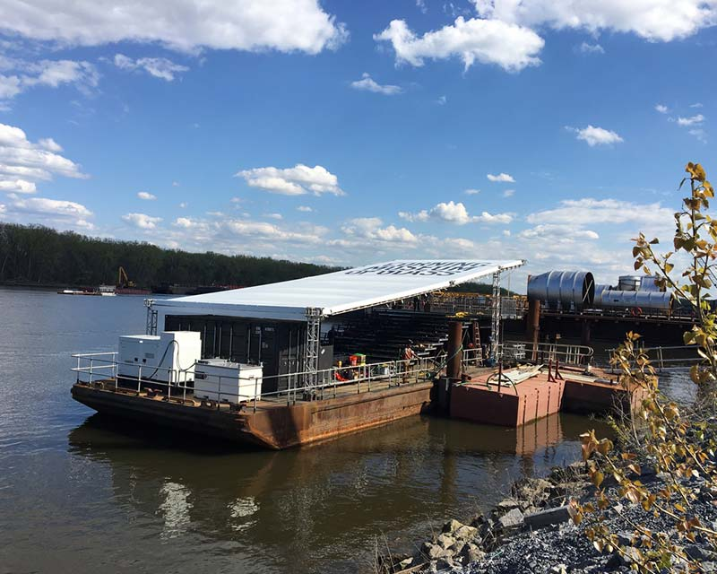 Corning glass barge with custom frame tent