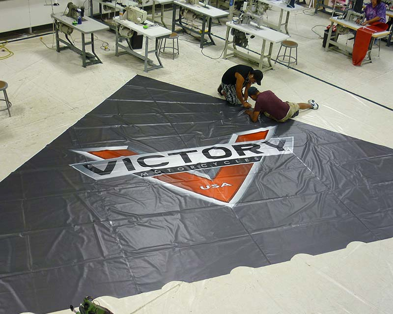 custom graphic for victory motorcycles on tent piece
