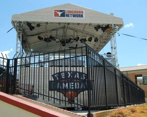 College gameday announcer booth