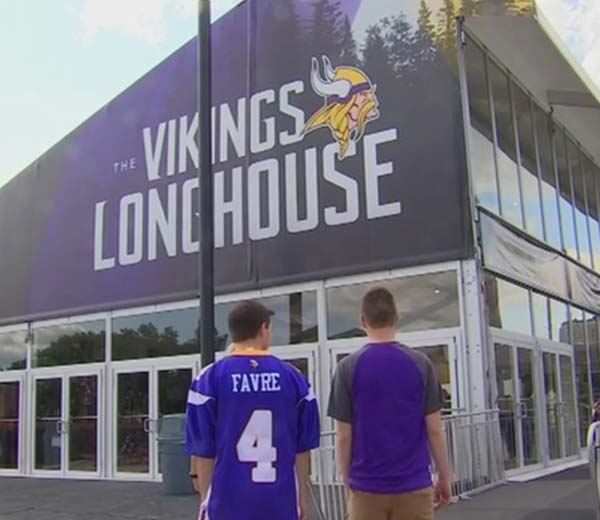 custom printed gable for the Vikings football team