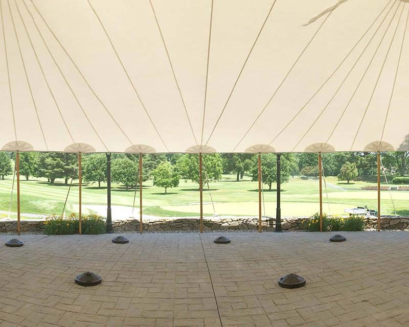 large tent looking out over golf course