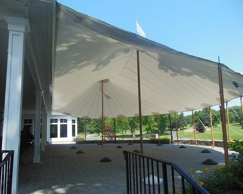large sailcloth Tent over patio
