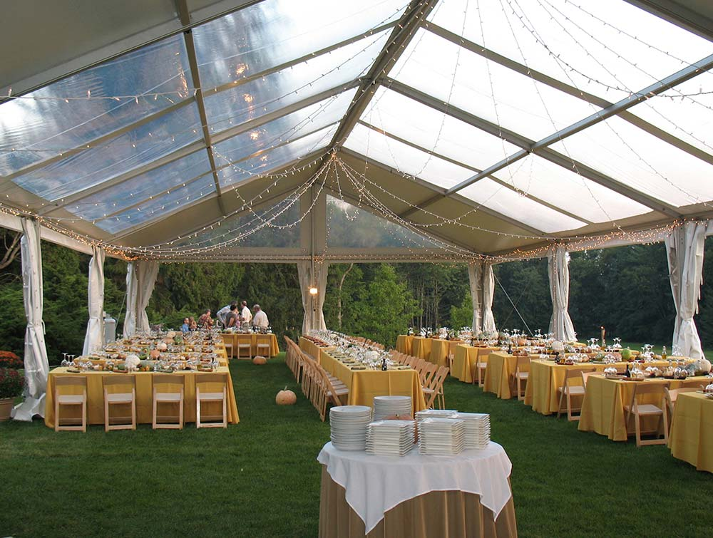 clearspan frame tent set up for a fall wedding