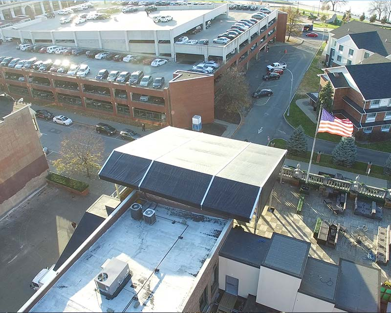 Roof of tent on top of building