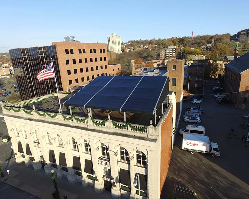 Large Rooftop tent on top of building