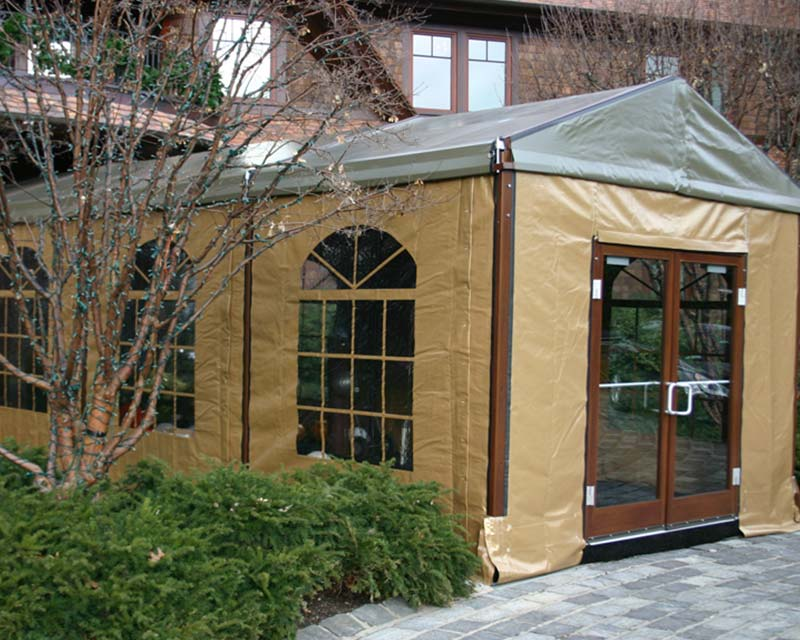 Entrance to a custom tent