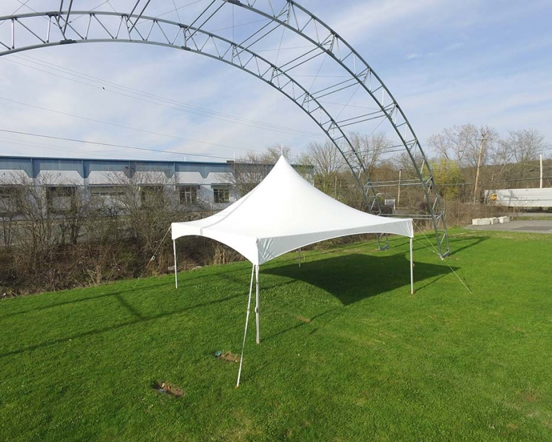 Frame tent setup on grass
