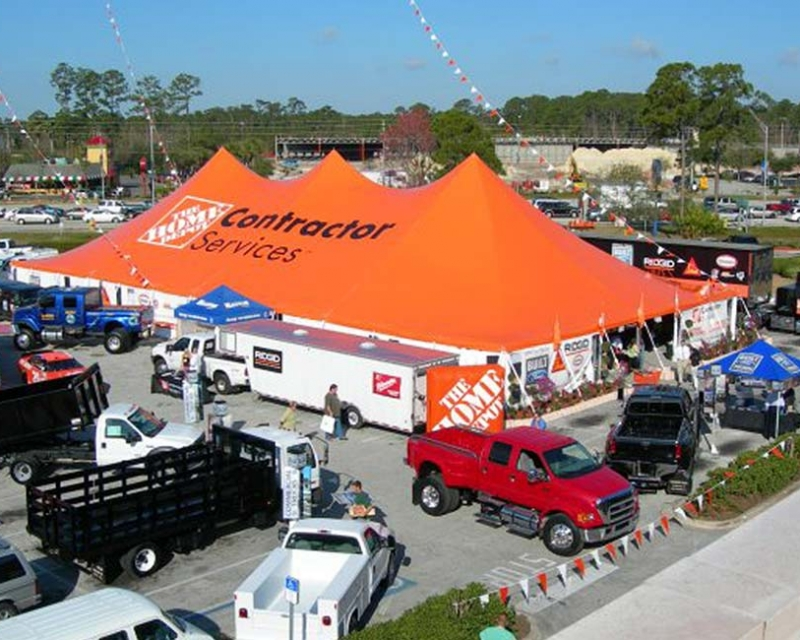 Large orange home depot tent