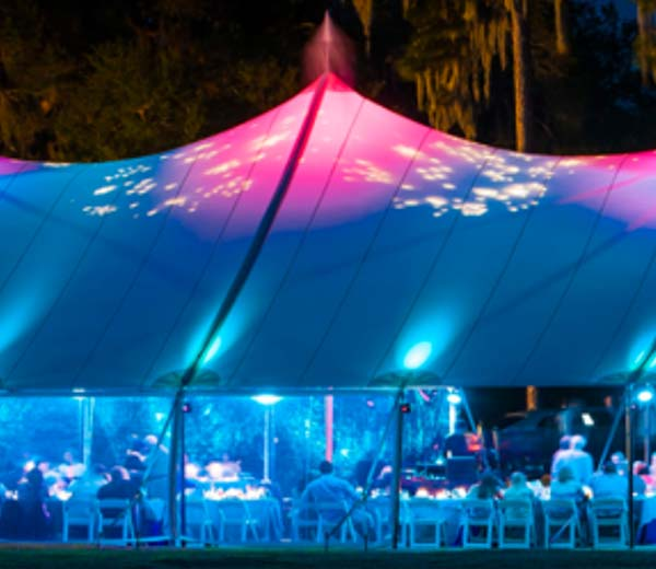 Sailcloth Tent with disco lights