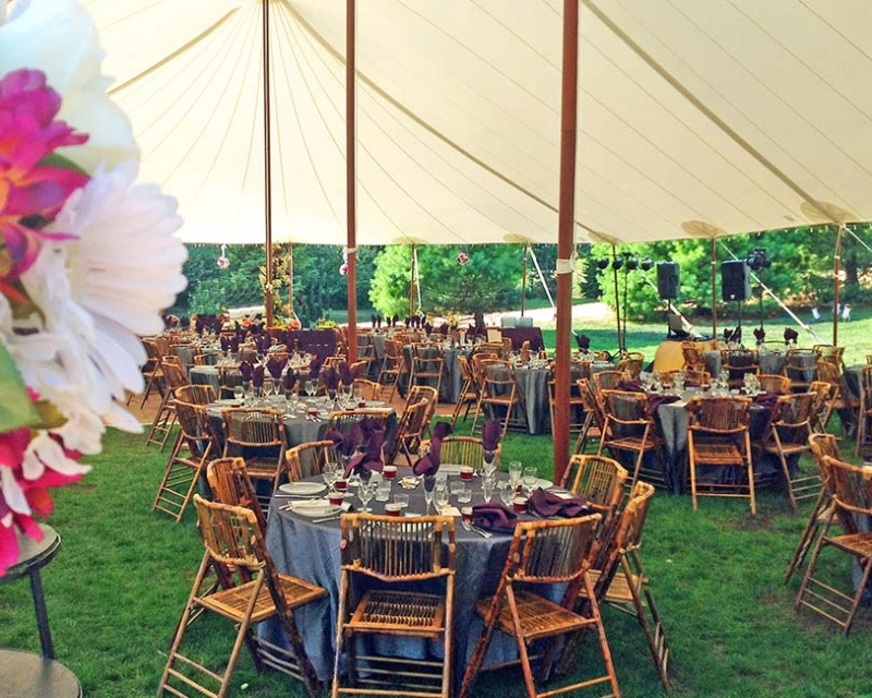 Tables for guest setup under tent