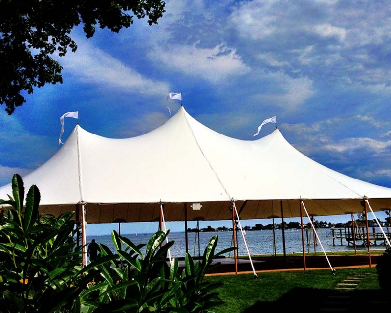 Wedding tent setup next to ocean