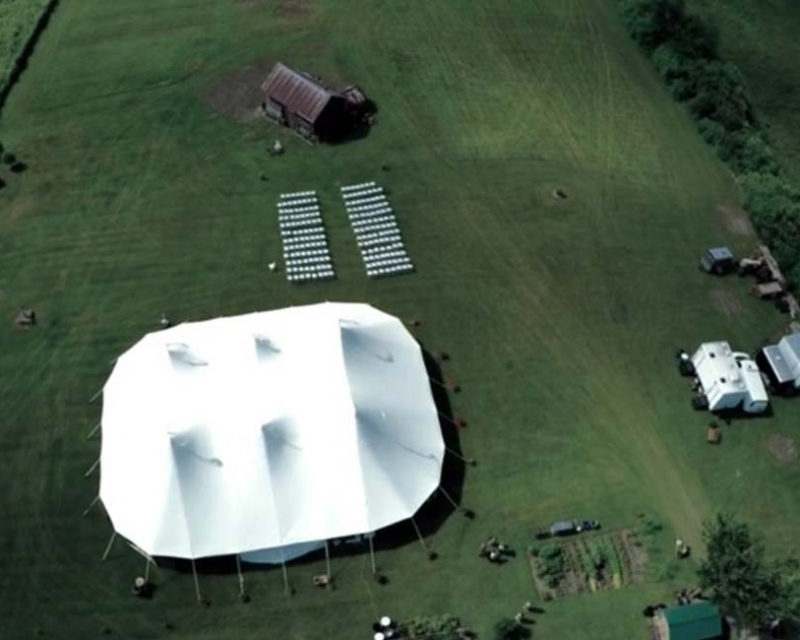 aerial view of wedding tent