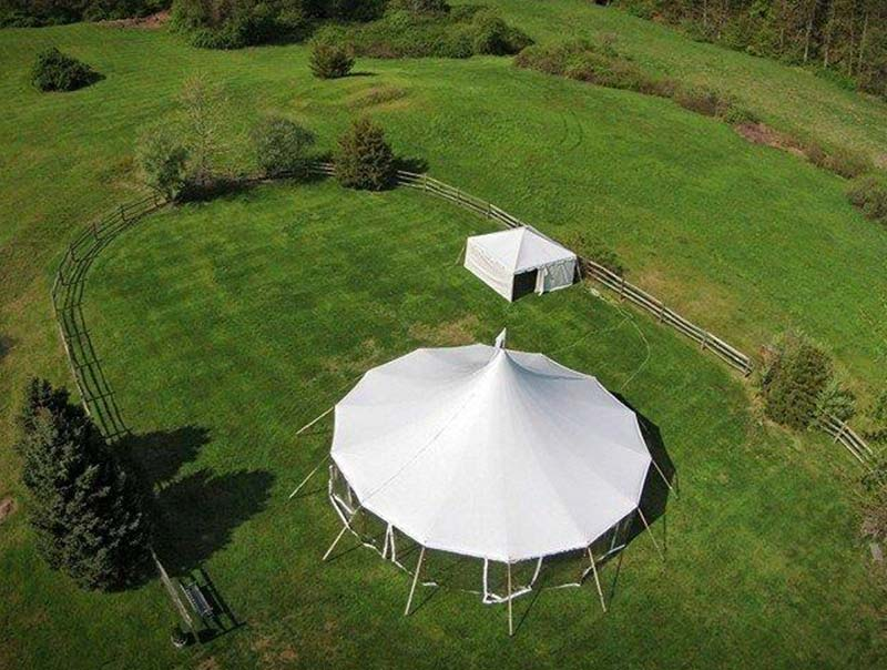 Arial view of the Stillwater sailcloth pole tent