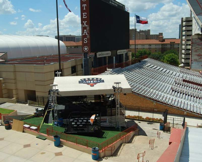 Texas gameday frame tent for football announcers