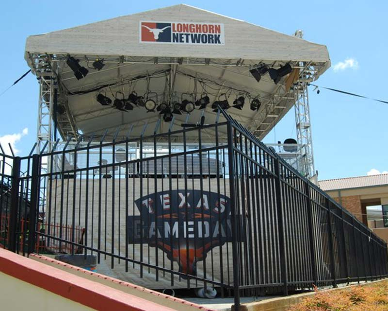 Texas gameday tent next to football stadium