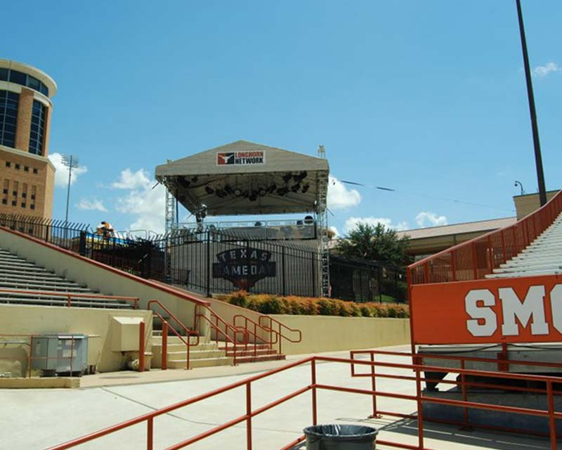 Texas gameday tent next to football stadium for announcers