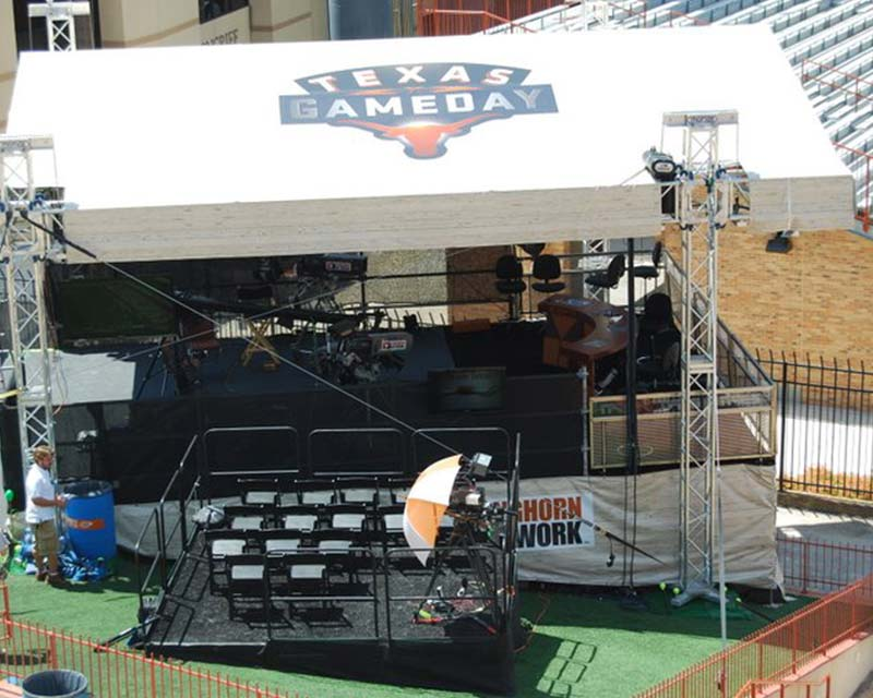 announcers tent for Texas Gameday College Football