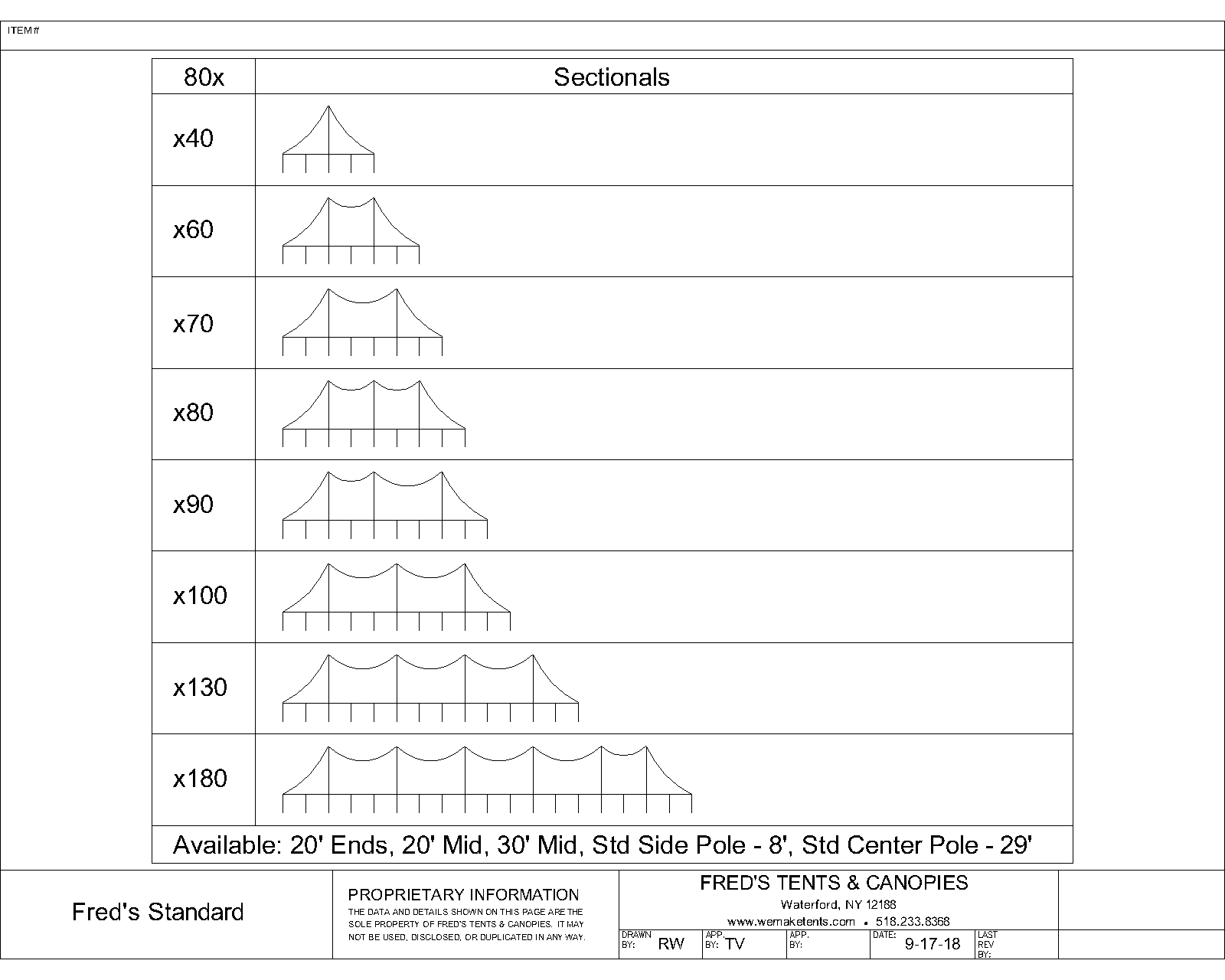 80X Pole Tent Size Matrix