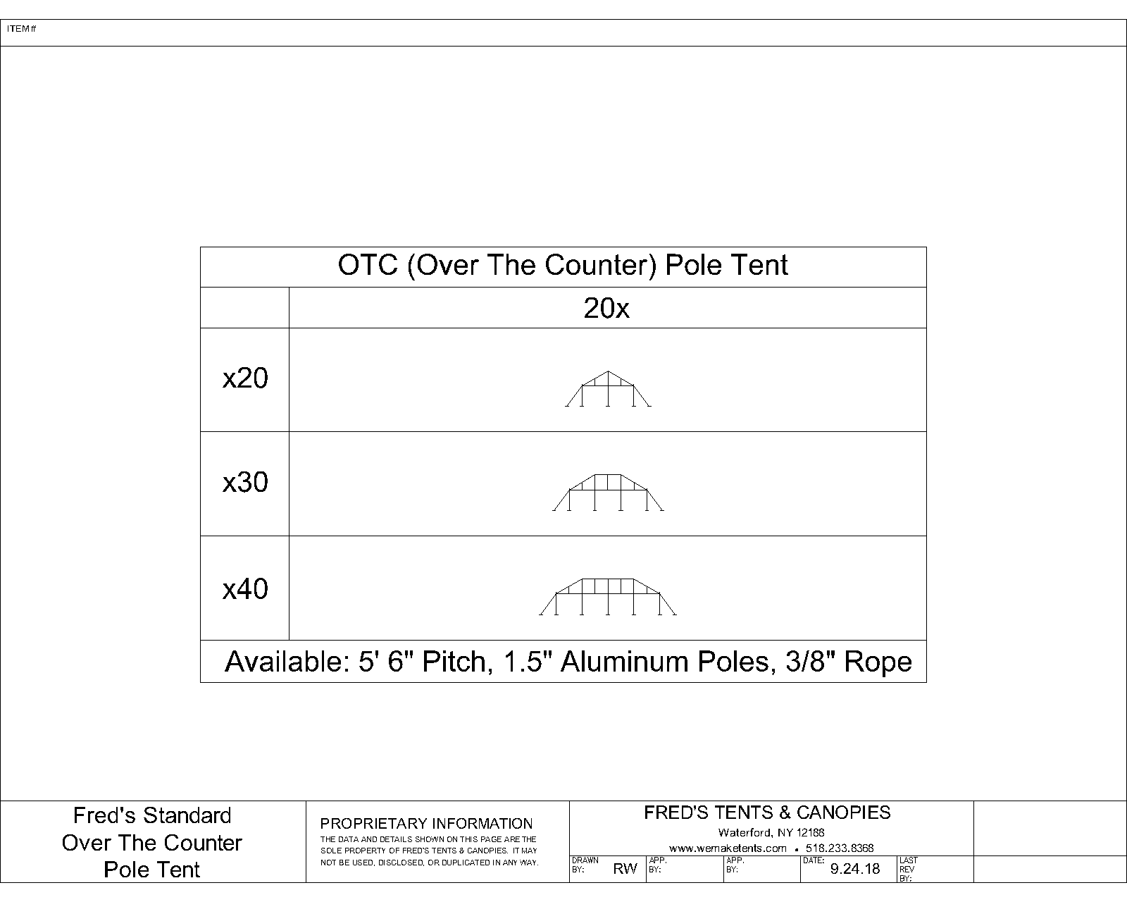 Over the Counter Pole Tent Sizes