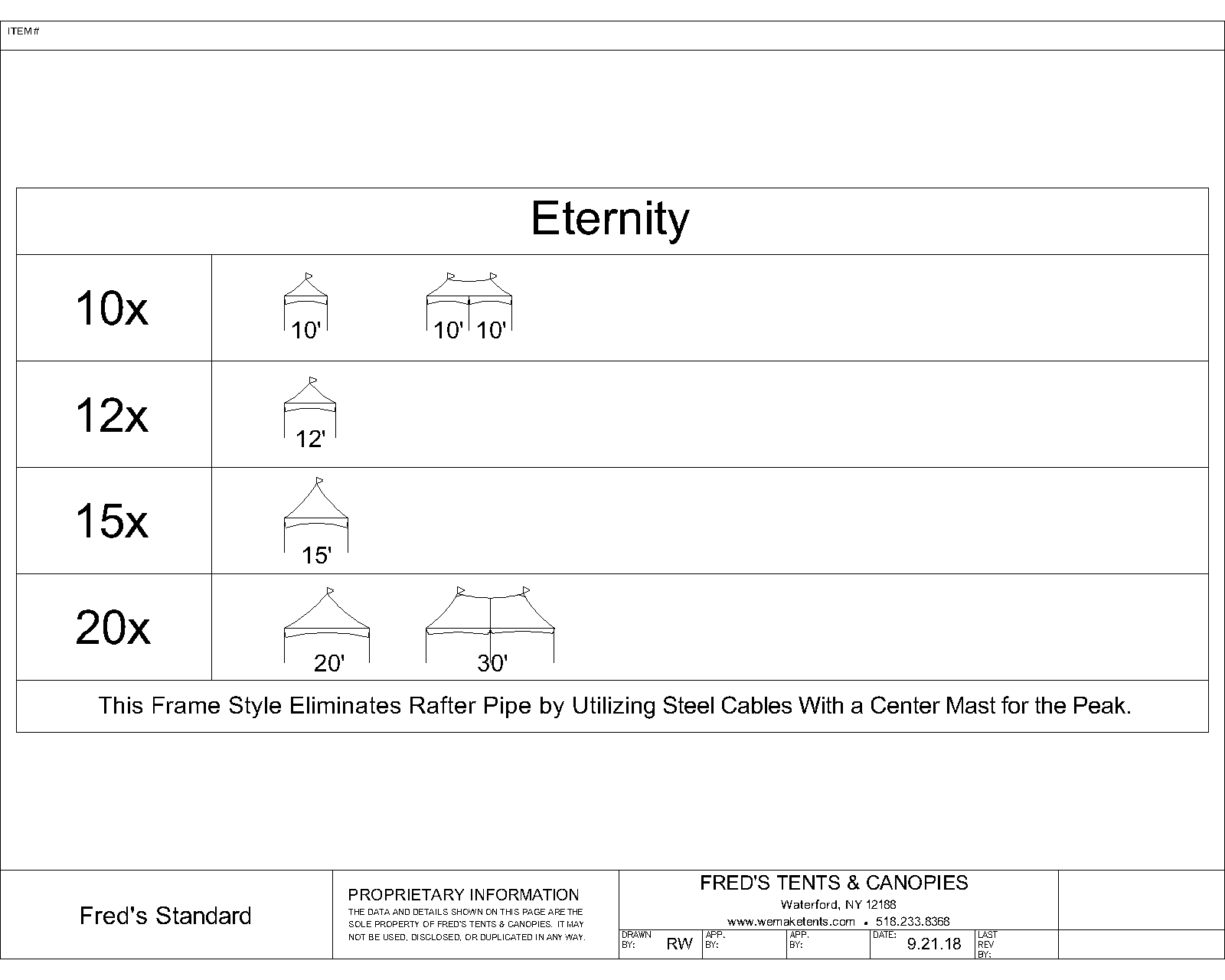 Eternity Tent Size Diagram