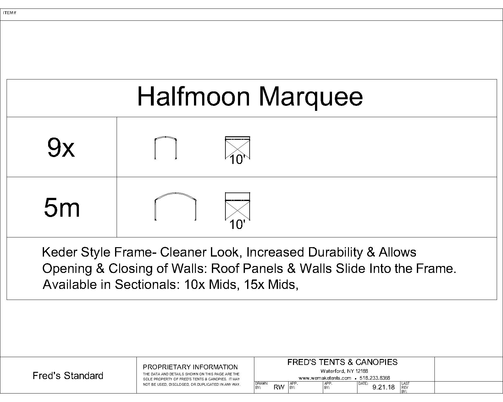 Halfmoon Marquee Tent Size Diagram