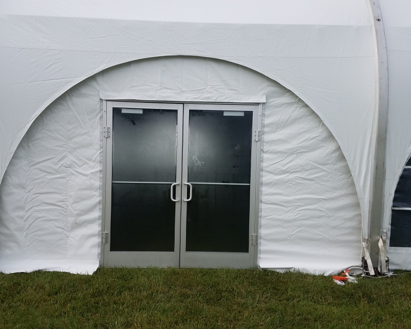 Aluminum door installed with tent