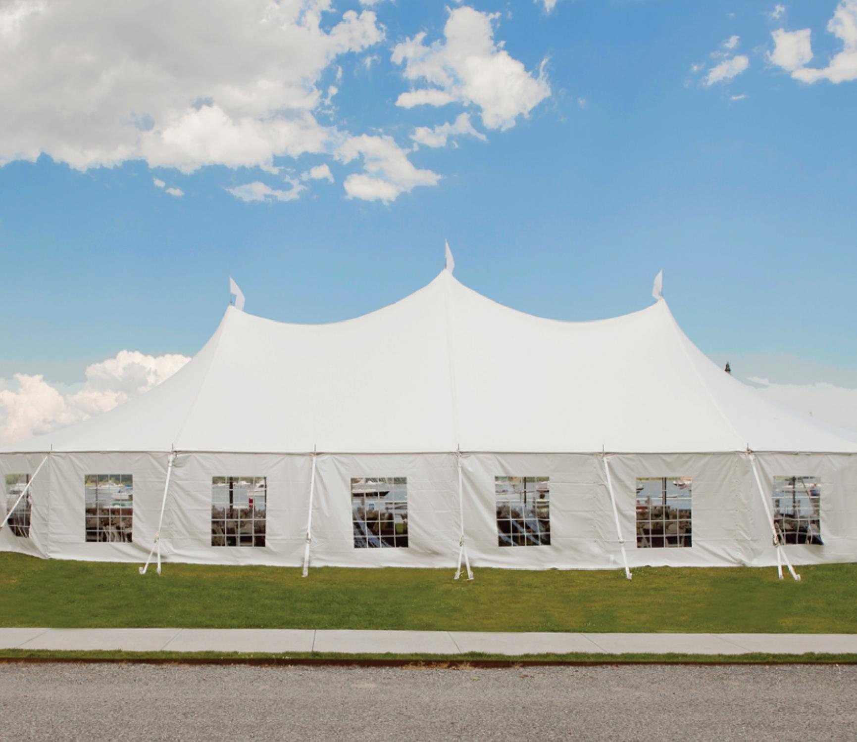 Stillwater sailcloth tent by the water