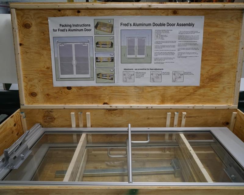 Aluminum door in crate