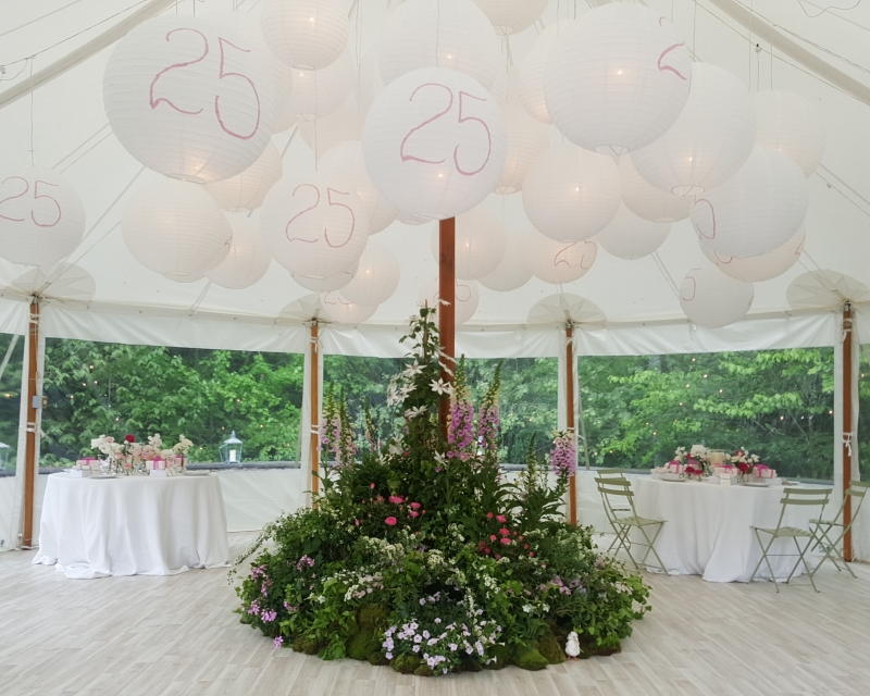 Interior of Stillwater tent with white washed floors