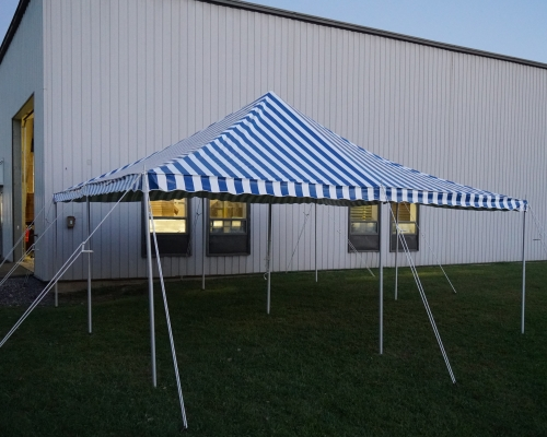 Blue striped tent