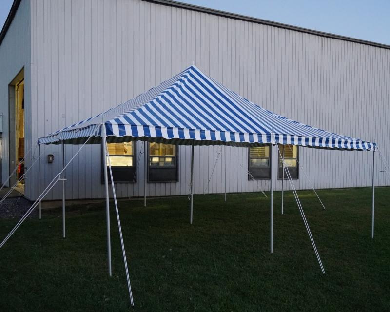 Blue striped tent