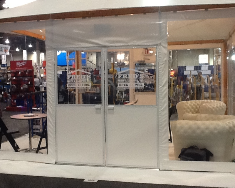 Value Doors installed in tent at trade show