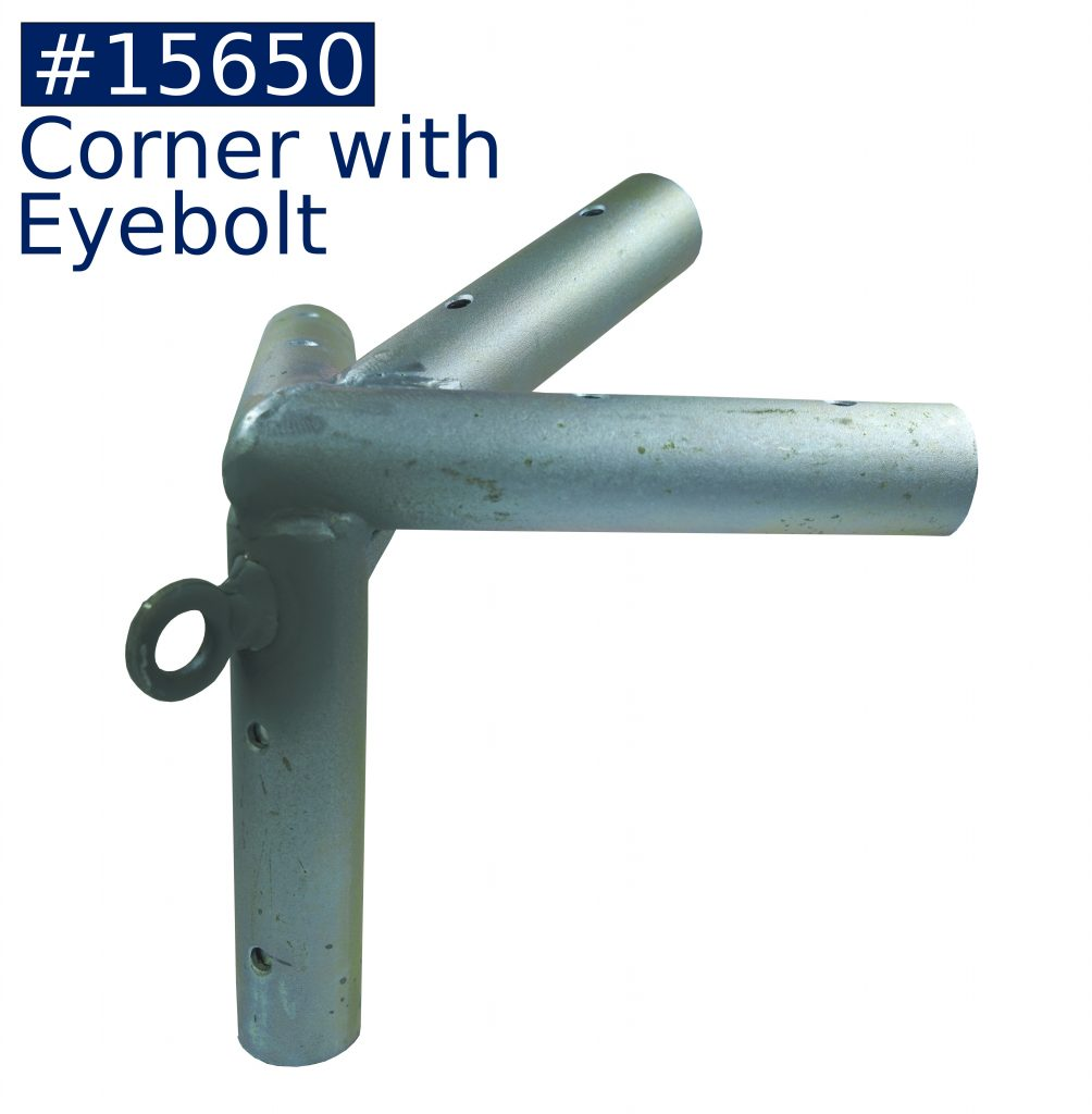 tent frame corner fitting with eyebolt