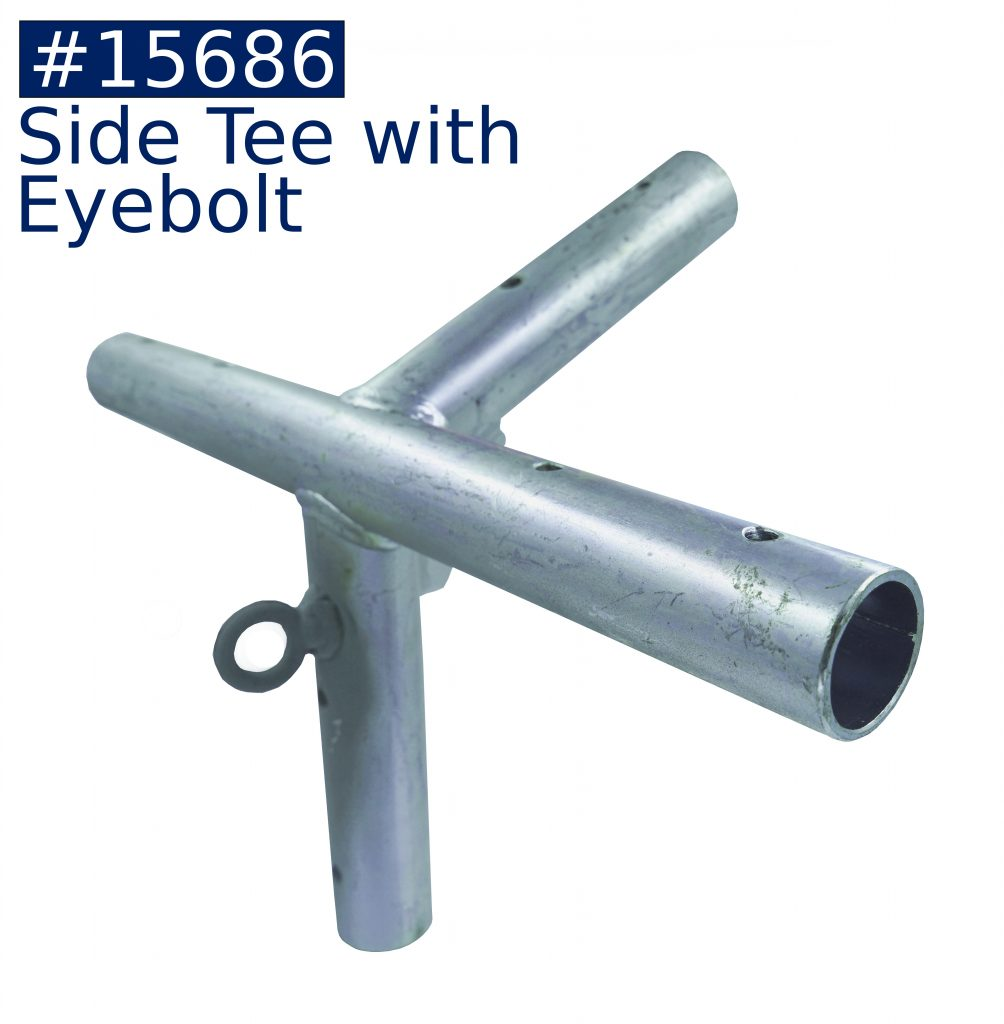 tent frame side tee fitting with eyebolt